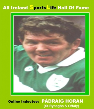 PÁDRAIG HORAN (Offaly):  All Ireland SportsLife Hall Of Fame Inductee [HURLING AWARD]